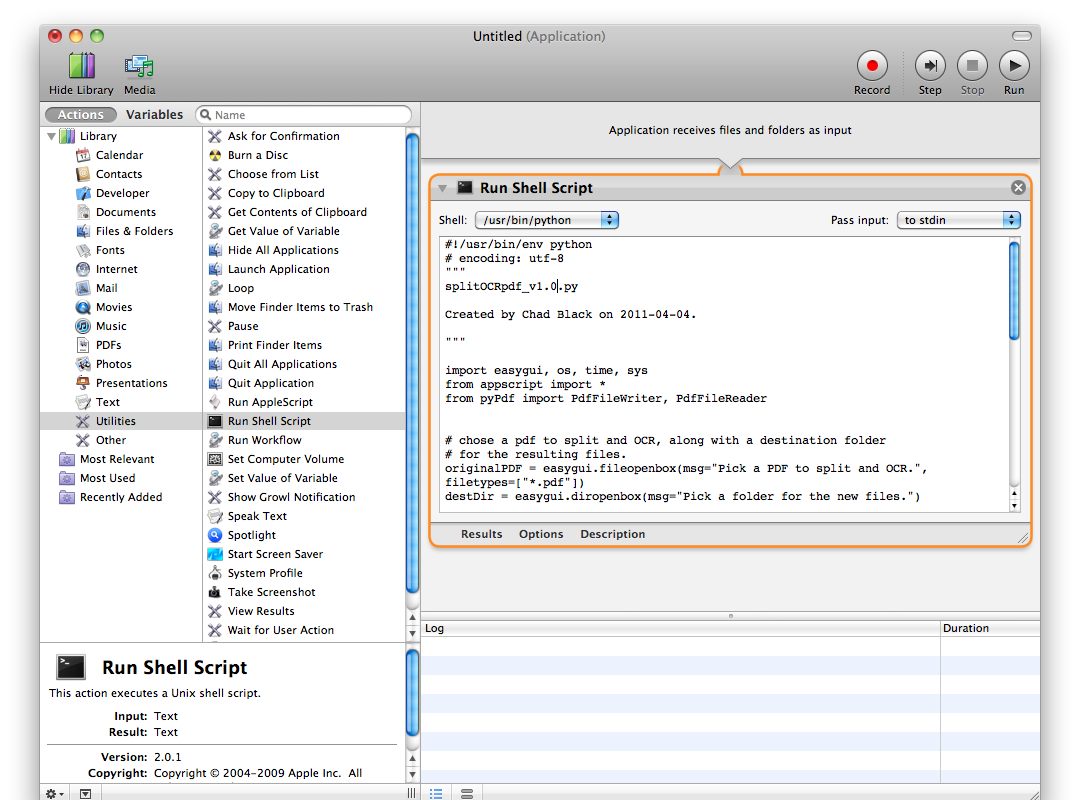 shell script as application with automator | parezco y digo